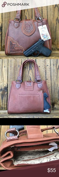 "$30 Off!! Montana West Conceal Carry Purse NWT Concealed carry purse Gun pocket in back with two zippers for left or right handed Brown weave look design with studded and tooled leather design trim 10"" x 12"" Regular price $84.99  Bundle and save!!   Coach, Tommy Hilfiger, Michael Kors, guess, faux leather, pocketbook Bags Shoulder Bags"