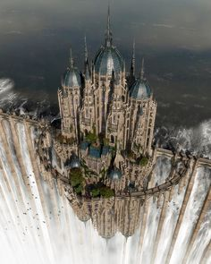 Myth & Fantasy Examples par Daneca Robinson Top of the waterfall by jfliesenborghs Fantasy City, Fantasy Castle, Fantasy Places, Fantasy World, Fantasy Artwork, Fantasy Posters, Fantasy Art Landscapes, Beautiful Castles, Beautiful Places