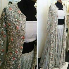 Chiffon blouse with shimmery skirt With chiffon gown and embriodery on it Skirts Maxi