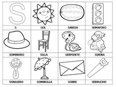 palabras que empiezan con la S Bilingual Kindergarten, Bilingual Classroom, Learning Support, Baby Learning, Teaching The Alphabet, Learning Letters, Pre K Activities, Classroom Activities, Speech Language Therapy