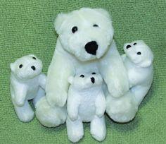 National Wildlife Federation POLAR BEAR Mama & 3 Cubs Babies Plush Stuffed Toys #NationalWildlifeFederation
