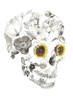 Helianthus by Sarah Voyer watercolor flower skull Skeleton Art, Hawaiian Tattoo, Sugar Skull Art, Skulls And Roses, Flower Skull, Skull Tattoos, Skeleton Tattoos, Girly Tattoos, Skull Art