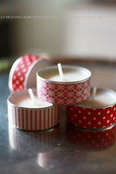 washi tape around tea lights | simple holiday DIY