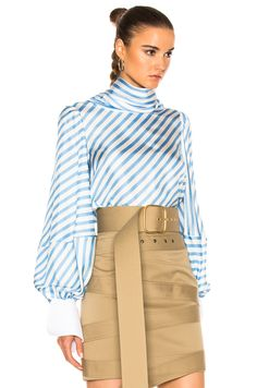 081912ca98abd1 Monse Striped Silk Twill Top in Periwinkle  amp  White