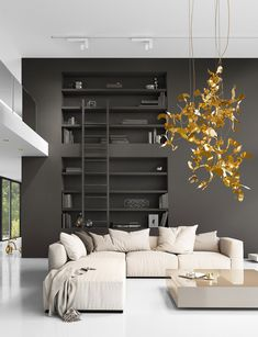 In this modern interior design, a contemporary lighting composition of Kelp elements in a brass finish was created.  The Kelp lighting element can be ordered in several sizes and finishes. Visit our website for more information. Modern Lighting Design, Custom Lighting, Modern Interior Design, Element Lighting, Residential Lighting, Contemporary Chandelier, Modern Light Fixtures, Hanging Lights, Pendant Lighting