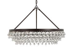 This glamorous chandelier glimmers with scores of clear glass balls and teardrops descending from a bronze-finished steel fixture. Shabby Chic Lighting, Build Dream Home, Glass Ball, Bronze Finish, Chandelier Lighting, Clear Glass, Bulb, Kings Lane, House Design