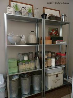 Hyllis shelving unit from Ikea for the garage or back porch $14.99 each!