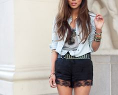 lace shorts where r u? Lace Trim Shorts, Stay Classy, I Dress, Fashion Forward, Spring Fashion, Casual Shorts, Short Dresses, Cute Outfits, Style Inspiration