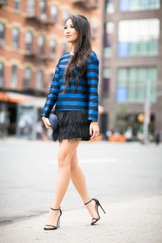 Shades of Blue :: Sapphire stripes & Silk clutch (via Bloglovin.com )