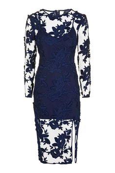 Long Sleeve Applique Midi Dress