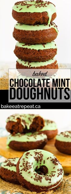 Chocolate mint doughnuts that are baked, not fried, and mix up in minutes! Make some dense, chocolate cake doughnuts topped with mint icing for dessert!