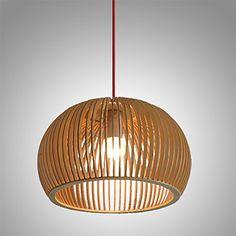 40W Contemporain Style Mini Bois Bambou Lampe Suspensions Chambre à Coucher  Salle à Manger Bureau Bureau