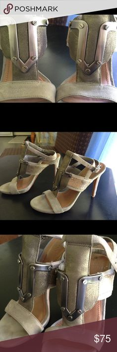 "Vince Camuto Florin sz 5.5 Slingback Sandle Heels Vince Camuto absolutely stunning polished pewter hardware and gray suede slingback sandle with 3.5"" heel. Used excellent condition. Size 5.5 Vince Camuto Shoes Heels"