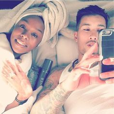 Cute interracial couple lounging in bed #love #ambw #bwam #Blasian