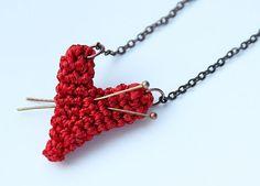 Crocheted heart necklace by Julia Kolbaskina, via Flickr. Inspirational.