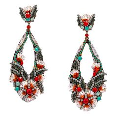 Coral, Mother of Pearl and Turquoise Pendant Earrings by DUBLOS