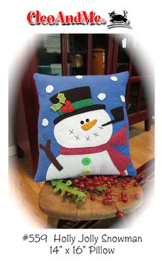 Holly Jolly Snowman Pillow Pattern by cleoandmepatterns on Etsy, $8.00