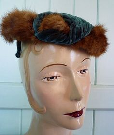 50s mink and velvet cocktail hat