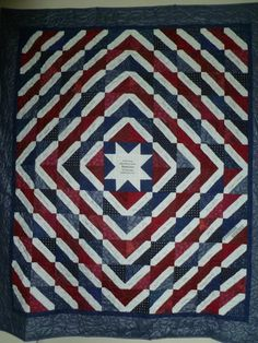 """Patriotic quilt presented to the Veterans"""" Home in The Dalles, Oregon and autographed by all the employees of Home Depot Store #4026"""