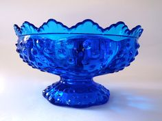 Fenton Candle Bowl, Fenton Candle Holder, Candlestick Holder, Blue Glass Candle Bowl by ForeverCharmCo on Etsy
