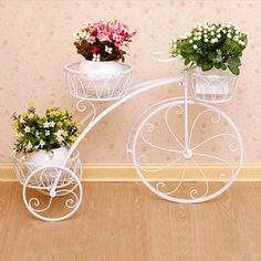 Metal Cycle Planter Pot with Style Stand - Tricycle Plant Container - White