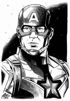 Captian America Avengers David Golding by DavidGolding Marvel Films, Marvel Comic Books, Marvel Characters, Comic Books Art, Comic Art, Avengers Drawings, Avengers Art, Marvel Art, Marvel Heroes