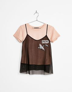 Patch T-shirt with tulle top - T-Shirts - Bershka Greece
