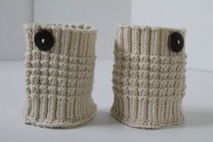 Knit Boot Cuff - Cream - Hand Knit Boot Cuffs with Button - Leg Warmer Boot Toppers - Boot Socks