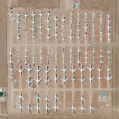 The Southern California Logistics Airport in Victorville, California, is a massive transitional hub for commercial aircraft. The facility's boneyard, pictured here, contains more than 150 retired planes.