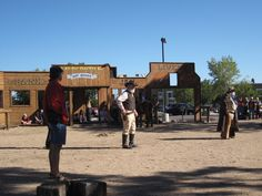 At Williams AZ where trains takes you to the Grand Canyon. Their cowboy show before the train leaves.