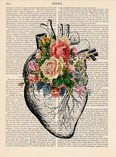 Upcycled Page book Print Vintage Illustration Print Heart