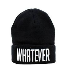 "As simple as the title- A black beanie that simply says ""WHATEVER"". Express yourself and your indifference at the same time!  A warm beanie hat, good for winter. Unisex and black; best for casual wear, especially casual goth. The cheapest price you'll see on Storenvy!"