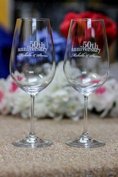 Custom Wine Glasses- Personalized Wine Glasses - Pair European Crystal Wine Glasses - Anniversary Gift - Wedding Gift. $39.95, via Etsy.