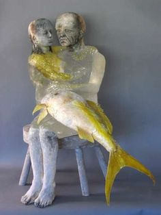 christina bothwell glass sculptures 7  Poor sad mermaid to be sitting with a withered old man!