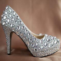 Bling wedding shoes ivory rhinestone heels by GeminiSilverJewelry, $199.99