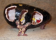 Dragon Sculpture  Handmade, hand glazed & one of a kind. Dragon & creatures on the inside.  etsy.com/shop/grandmasmagick