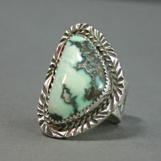 Ladies silver and White turquoise  ring  modernest by davidjames56, $150.00
