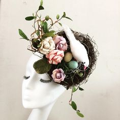One must ask oneself: why NOT wear a nest with a bird and 2 eggs on your head for Easter? We've designed one, and only one, whimsical Easter headband fascinator with vintage millinery, leaves and egg-sitting feather bird...we love it like crazy! DM to purchase in time for your own Easter parade!