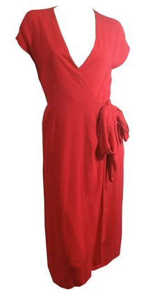 Candy Red Side Tie Wrap Dress circa 1970s Halston - Dorothea's Closet Vintage