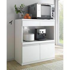 家電の使いやすい工夫いっぱい、高さ100センチのハイカウンターキッチン。家電収納部に蒸気を吸収発散するモイスを採用し、天板はステンレス製で熱を発する家電も安心。機能満載のキッチンカウンターです。