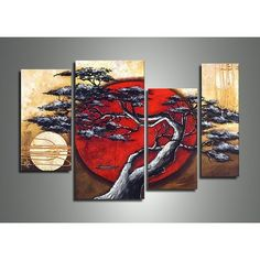 4 Piece Canvas Art, Abstract Art, Moon and Tree Painting, Large Painting for Sale, Contemporary Art - Art Painting Canvas Modern Oil Painting, Oil Painting Abstract, Hand Painting Art, Abstract Art, Abstract Landscape, Painting Canvas, Oil Paintings, Japan Painting, Japanese Landscape