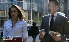 This white button-down and red pencil skirt ensemble looks so good! Rachel Zane Suits (follow Klowee Hulbert on Pinterest)