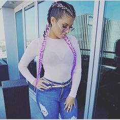 Beautiful! #cornrows  #pinkbraids #purplebraids ombrebraids #braidgoals **Disclaimer**