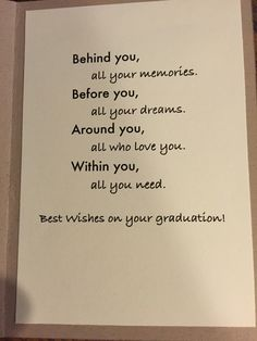 Graduation card saying