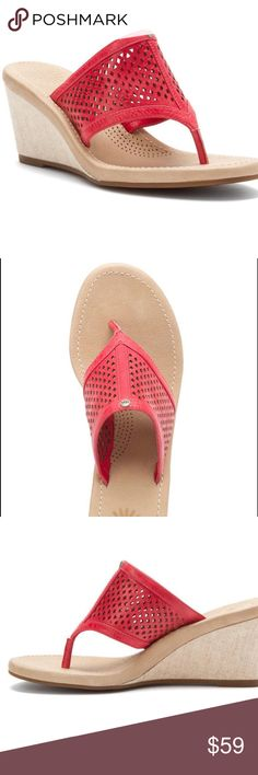 UGG Solena Sandals Flamingo Pink 7 New This is a brand new pair of Solena Wedge Sandals in a 7, they are a pretty deep pink, I think it is called Flamingo Pink. Great little sandal and super comfortable. Purchased at Deckers so I can guarantee authenticity. UGG Shoes Sandals