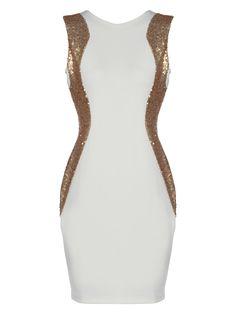 cream and gold sequin illusion dress