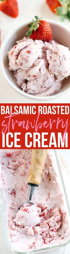 Perfectly sweet and creamy Balsamic Roasted Strawberry Ice Cream that is gluten-free and dairy-free with big chunks of strawberry in every bite! #ad #AlessiFoods