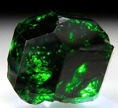 "Chrome Tourmaline Landani, Tanzania. Known as ""Chrome"" Tourmaline, it is actually a vanadium rich Uvite/Dravite."