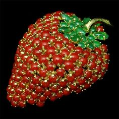 Strawberry Pin Vintage Dior Germany Glass Cabs Fruit Brooch 1965 | eBay