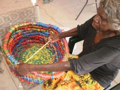 Cecilia Peter making basket, Pormpuraaw workshop 09. Photo courtesy Sue Ryan.